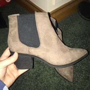 "H&M size 37 brown/ grey suede 2"" booties"
